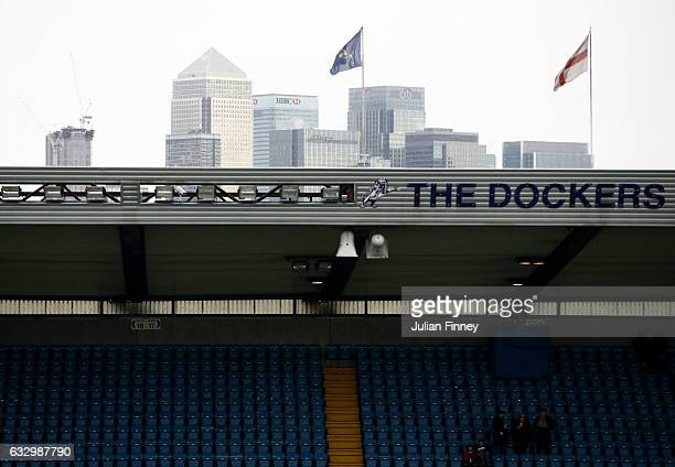 Canary Wharf is seen from inside the stadium prior to The Emirates FA Cup Fourth Round match between Millwall and Watford at The Den on January 29...