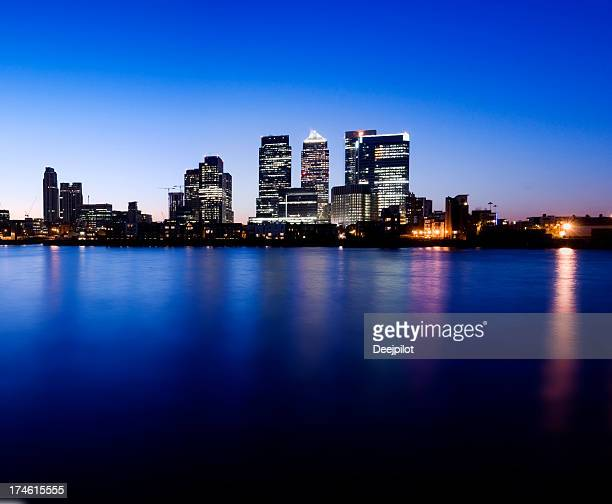 Canary Wharf London City Skyline at Night in London UK