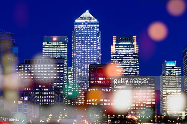 Canary Wharf London City Skyline at Night in London UK