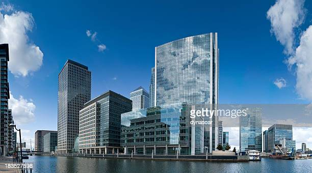canary wharf panorama, london - canary wharf stock photos and pictures
