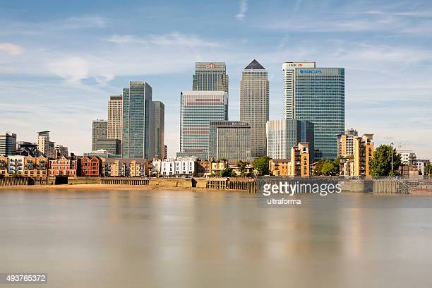 canary wharf skyline - barclays brand name stock photos and pictures