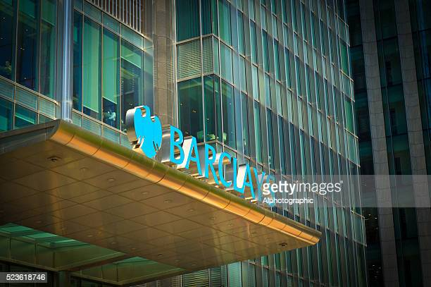canary wharf tower block - barclays brand name stock photos and pictures