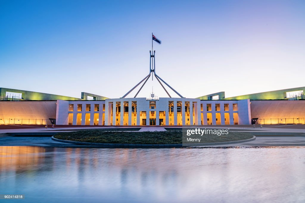 Canberra Australian Parliament House illuminated at Twilight : Stock Photo