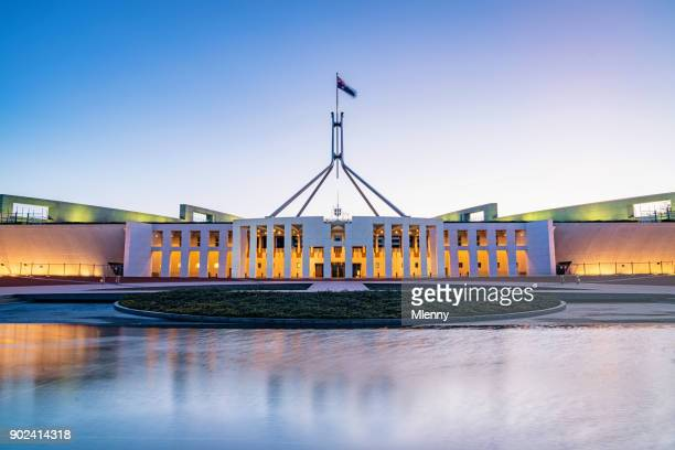 canberra australian parliament house illuminated at twilight - british empire stock pictures, royalty-free photos & images