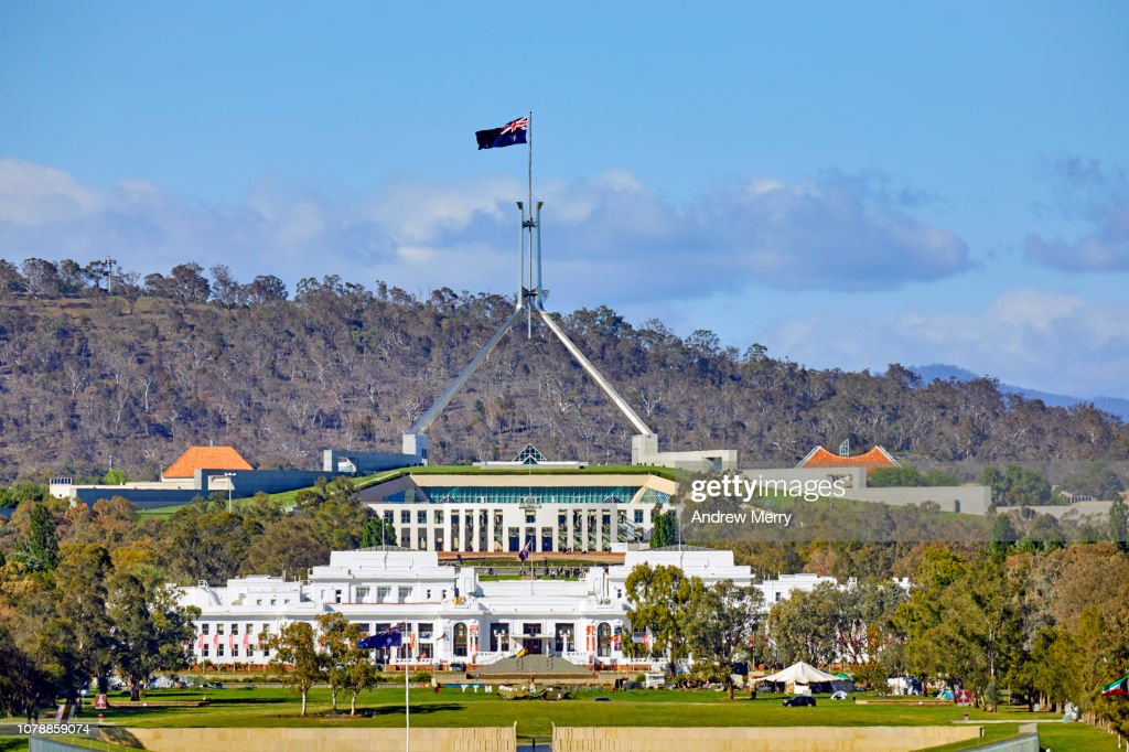 Canberra Landscape With Australian Parliament House And Blue Sky