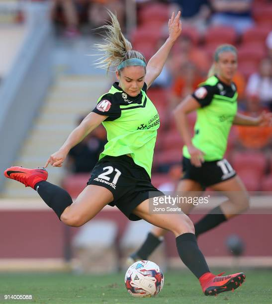 Canberra player Ellie Carpenter has a shot at goal during the round 14 WLeague match between the Brisbane Roar and Canberra United at Suncorp Stadium...