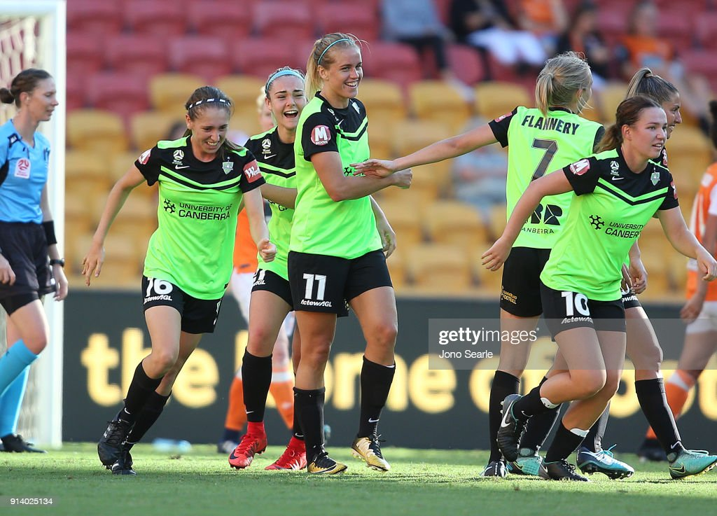 Canberra players celebrate a goal during the round 14 W-League match between the Brisbane Roar and Canberra United at Suncorp Stadium on February 4, 2018 in Brisbane, Australia.
