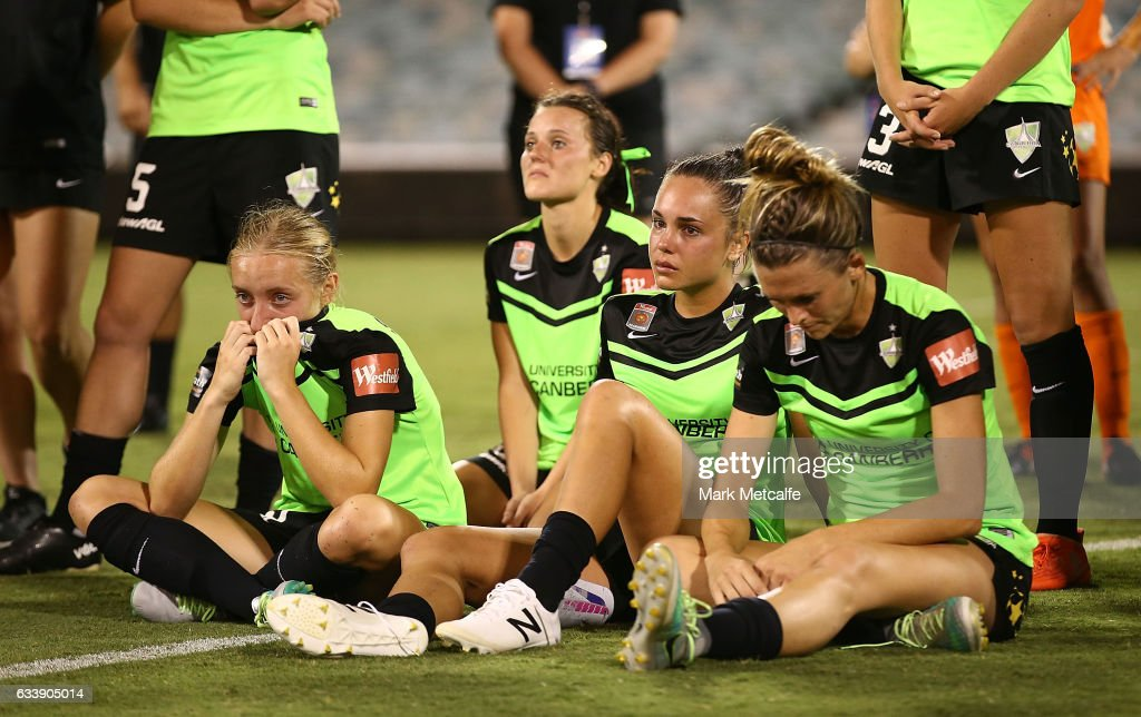 Canberra players look dejected after defeat in the W-League Semi Final match between Canberra United and Melbourne City FC at GIO Stadium on February 5, 2017 in Canberra, Australia.