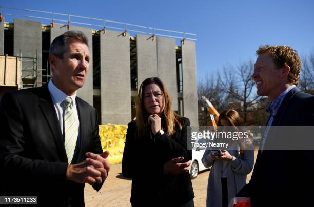 Canberra Raiders Chief Executive Don Furner and former Raiders Captain Alan Tongue speaks to media with ACT Deputy Chief Minister Yvette Berry during...