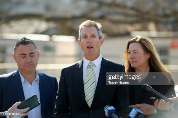 Canberra Raiders Chief Executive Don Furner speaks to media with ACT Deputy Chief Minister Yvette Berry and NSW Deputy Premier John Barilaro during...