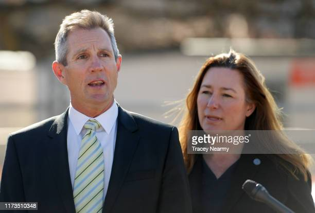 Canberra Raiders Chief Executive Don Furner speaks to media with ACT Deputy Chief Minister Yvette Berry during the Canberra Raiders Centre of...