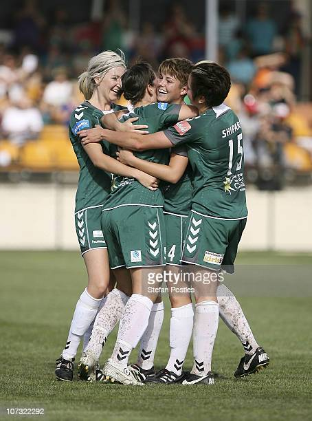 Canberra United celebrate after Michelle Heyman scored a goal during the round five WLeague match between Canberra United and Adelaide United at...