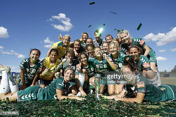 Canberra United celebrate after winning the 2012 W-League Grand Final match between Canberra United and the Brisbane Roar at McKellar Park on January...