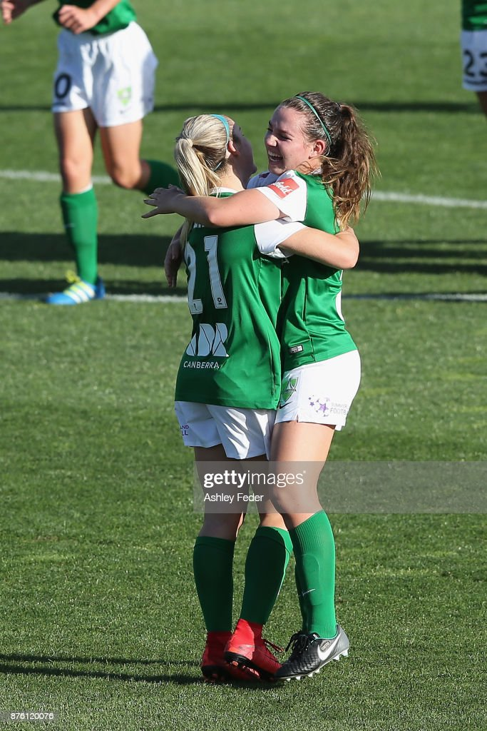 Canberra United players celebrate a goal from Toni Pressley during the round four W-League match between Newcastle and Canberra on November 19, 2017 in Newcastle, Australia.