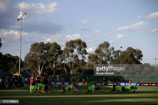 Canberra United players warm up before the WLeague match between Canberra United and the Brisbane Roar at McKellar Park on December 27 2018 in...