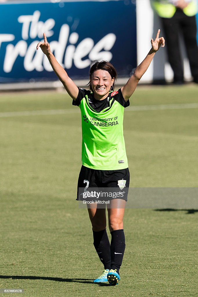 Canberra United's Yukari Kinga celebrates scoring a goal during the round 14 W-League match between Canberra United and Melbourne Victory at McKellar Park on January 28, 2017 in Canberra, Australia. Canberra United went on to win the game 5-1.