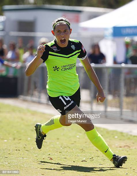 Canberra's Ashleigh Sykes celebrates after scoring during the round 12 WLeague match between Canberra United and the Perth Glory at McKellar Park on...