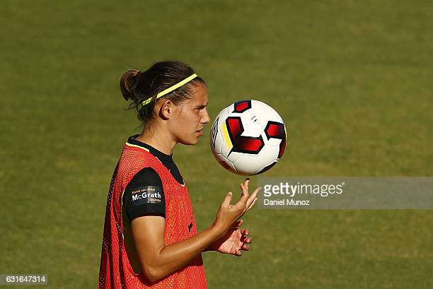 Canberra's Ashleigh Sykes keeps the ball at the end of the match after scoring four goals during the round 12 WLeague match between Canberra United...