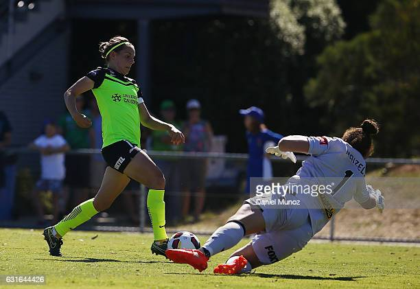 Canberra's Ashleigh Sykes scores her third goal during the round 12 WLeague match between Canberra United and the Perth Glory at McKellar Park on...