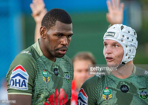 Canberra's Edrick Lee shows no emotion after scoring Canberra's winning try during the round eight NRL match between the South Sydney Rabbitohs and...