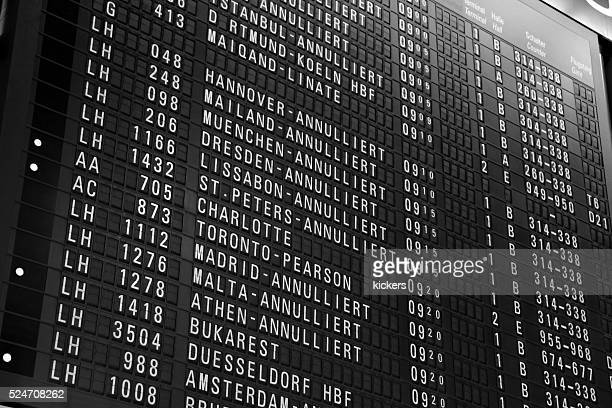 Canceled flights os arrival departure board at airport