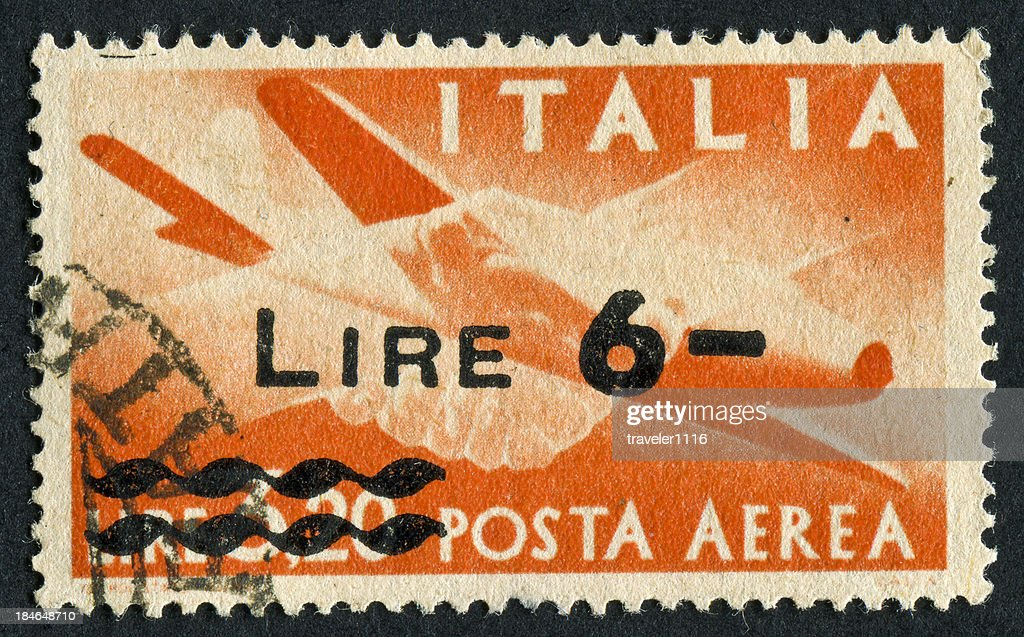 Cancelled Stamp Of Italian Air Mail : Stock Photo