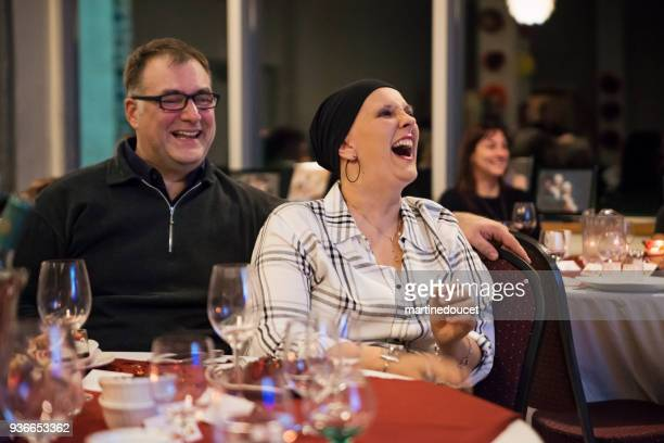 Cancer patient with husband celebrating wedding anniversary.
