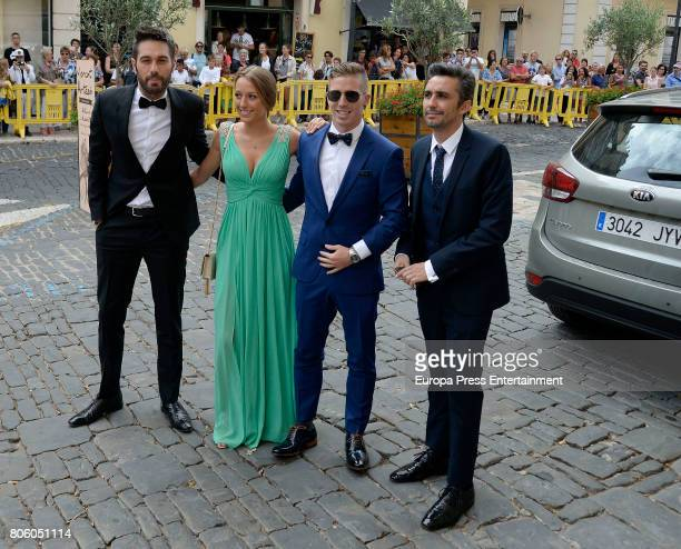 Canco Rodriguez Dani Martinez and Iker Muniain attend the wedding of baskettball player Sergio Llull and Almudena Canovas on July 1 2017 in Menorca...