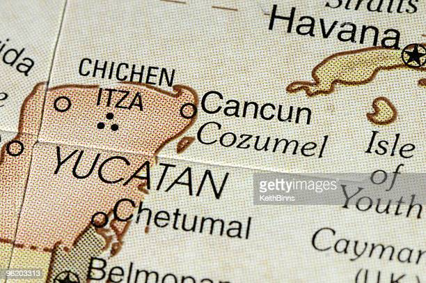 cancun map - yucatan stock pictures, royalty-free photos & images