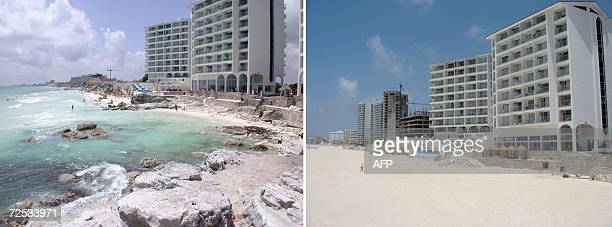 Picture of the Chacmol beach in Cancun taken on October 21st after Hurricane Wilma devastated this Mexican seaside resort Picture of the same place...