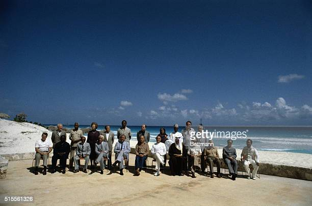 Cancun Mexico The 23 world leaders line up in the hot sun for official photo at the NorthSouth Economic Summit here 10/23 From left rear Sergei...