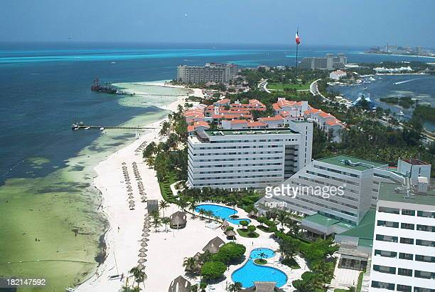 cancun - view from a tower - cancun stock photos and pictures