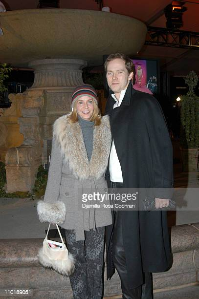 Candace Bushnell and Charles Askegard during Olympus Fashion Week Fall 2004 Seen at Bryant Park Day 3 at Bryant Park in New York City New York United...
