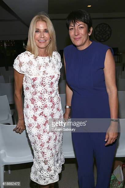 Candace Bushnell and Ghislaine Maxwell attend VIP Evening of Conversation for Women's Brain Health Initiative Moderated by Tina Brown at Spring...