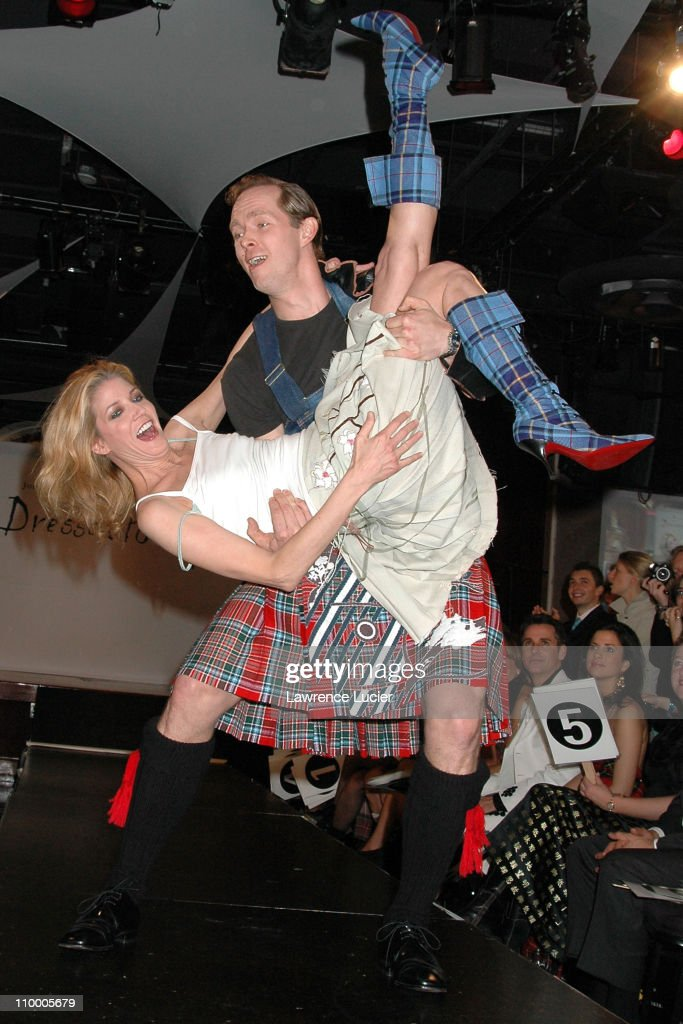 Candace Bushnell and husband Charles Askegard during Johnnie Walker Presents Dressed to Kilt - Arrivals and Runway at Copacabana in New York City, New York, United States.