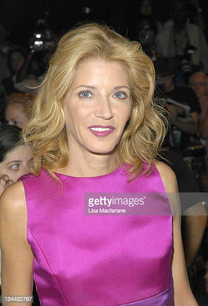 Candace Bushnell during Olympus Fashion Week Spring 2006 Oscar de la Renta Front Row at Bryant Park in New York City New York United States