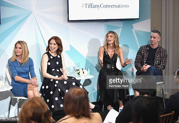 Candace Bushnell Ellie Kemper Sarah Rutson and Dan Savage speak at the Tiffany Co In Conversation on April 15 2016 in New York City