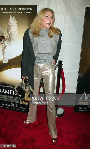 Candace Bushnell wearing a Dolce Gabbana coat and Tuleh pants