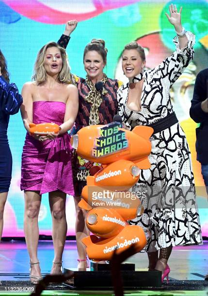 Candace Cameron Bure, Andrea Barber Jodie Sweetin accept the Favorite Funny TV Show award for 'Fuller House' onstage at Nickelodeon's 2019 Kids'...