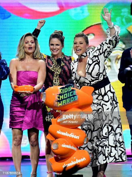 Candace Cameron Bure Andrea Barber Jodie Sweetin accept the Favorite Funny TV Show award for 'Fuller House' onstage at Nickelodeon's 2019 Kids'...