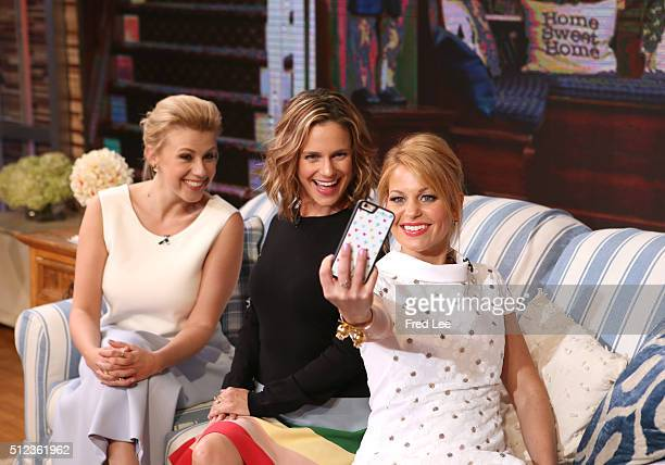 AMERICA Candace Cameron Bure Jodie Sweetin and Andrea Barber of 'Fuller House' are guests on 'Good Morning America' 2/24/16 airing on the ABC...