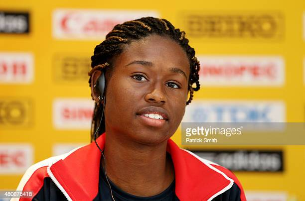 Candace Hill of the USA attends a press conference prior to the start of the IAAF World Youth Championships Cali 2015 on July 14 2015 in Cali Colombia