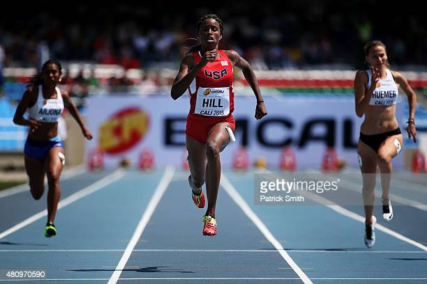 Candace Hill of the USA in action during round one of the Girls 100 Meters on day two of the IAAF World Youth Championships Cali 2015 on July 16 2015...
