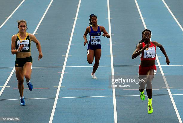 Candace Hill of the USA in action during the Girls 200 Meters Semi Final on day four of the IAAF World Youth Championships Cali 2015 on July 18 2015...