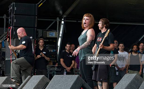 Candace Kucsulain of Walls of Jericho performs on stage at Hellfest Festival on June 18 2010 in Clisson France