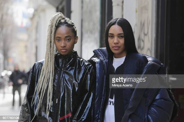 Candace Marie and Aleali May seen during Paris Fashion Week Womenswear Fall/Winter 2018/2019 on March 5 2018 in Paris France