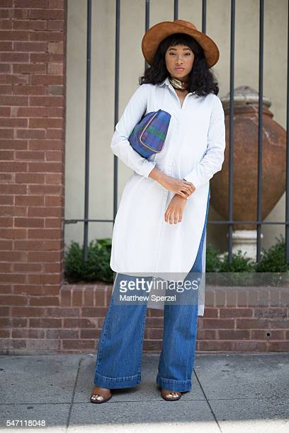 Candace Marie is seen attending the Artistix with Andy Hilfiger Presentation wearing a Zara hat Shopbop tunic Bergdorf pants and Tobi shoes during...