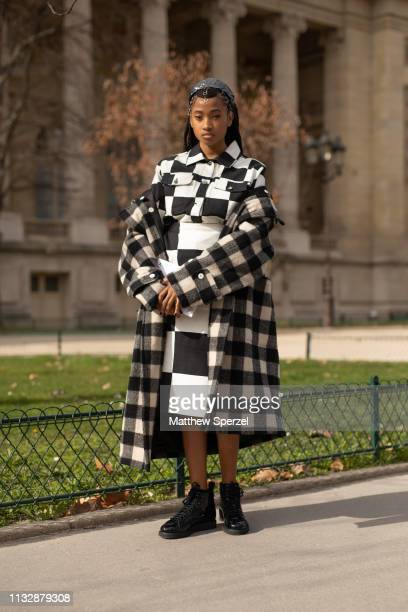 Candace Marie is seen on the street attending Paco Rabanne during Paris Fashion Week AW19 wearing checker outfit on February 28, 2019 in Paris,...