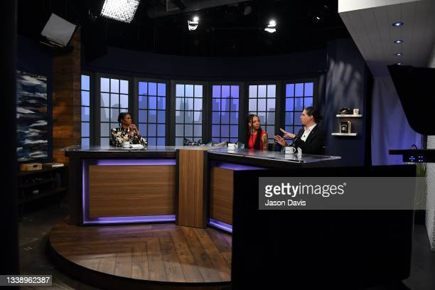 """Candace Owens, Amala Ekpunobi and Robby Starbuck are seen on set of """"Candace"""" on September 07, 2021 in Nashville, Tennessee. This taping marks the..."""