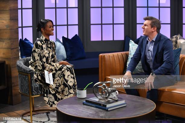 """Candace Owens and James O'Keefe are seen on set of """"Candace"""" on September 07, 2021 in Nashville, Tennessee. This taping marks the first time that the..."""
